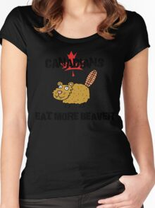 """Canada """"Canadians Eat More Beaver"""" T-Shirt Women's Fitted Scoop T-Shirt"""
