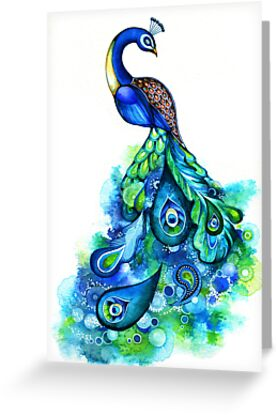 Peacock Watercolor by Annya Kai