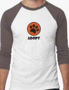 Adopt (Paw Print) Men's Baseball ¾ T-Shirt