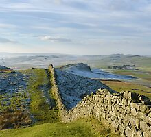 Hadrian's Wall crosses Bogle Hole by Joan Thirlaway
