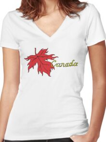 Canada Maple Leaf T-Shirt Women's Fitted V-Neck T-Shirt