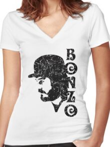 DISTRESSED BLACK BONZO Women's Fitted V-Neck T-Shirt