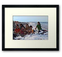A Bath in the Ocean - Balinese Children Framed Print