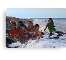 A Bath in the Ocean - Balinese Children Canvas Print