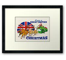 Great British Christmas Santa Reindeer Doube Decker Bus Framed Print