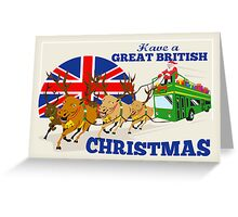 Great British Christmas Santa Reindeer Doube Decker Bus Greeting Card