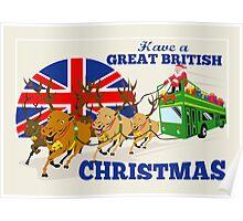 Great British Christmas Santa Reindeer Doube Decker Bus Poster