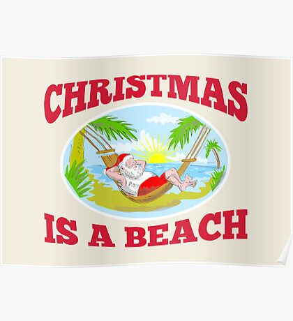Santa Claus Father Christmas Beach Relaxing Poster