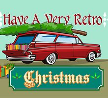 Retro Christmas Tree Station Wagon by patrimonio