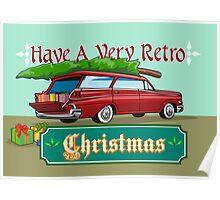 Retro Christmas Tree Station Wagon Poster