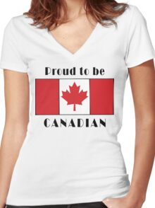 Canada Proud To Be Canadian T-Shirt Women's Fitted V-Neck T-Shirt
