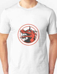 Red Chinese Dragon Head Circle Unisex T-Shirt