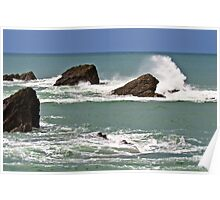 Waves crashing against rocks Poster