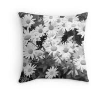 Monochrome Daisies Throw Pillow
