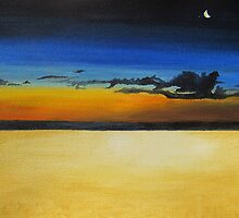 On the Beach at Night by Leslie Gustafson