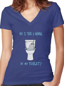Narwhal In My Toilet Women's Fitted V-Neck T-Shirt