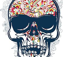 Colorful Abstract Skull by tinaodarby