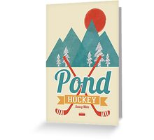 Retro Pond Hockey Greeting Card