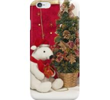 White Teddy Bear  with red Christmas Baubles and Christmas tree  iPhone Case/Skin