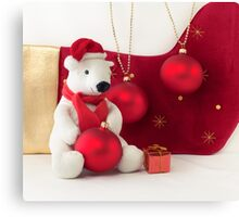 White Teddy Bear  with red Christmas Baubles  Canvas Print