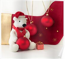 White Teddy Bear  with red Christmas Baubles  Poster