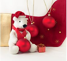 White Teddy Bear  with red Christmas Baubles  Photographic Print