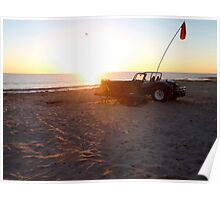 VW beach buggy camping on the beach Poster