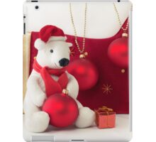 White Teddy Bear  with red Christmas Baubles  iPad Case/Skin