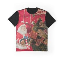 Santa Claus with Christmas  tree and  gift Graphic T-Shirt