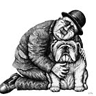 Man and Bulldog pen ink black and white drawing by Vitaliy Gonikman