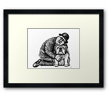 Man and Bulldog pen ink black and white drawing Framed Print