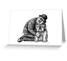 Man and Bulldog pen ink black and white drawing Greeting Card