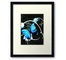 Blue bubble butterfly Framed Print