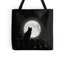 Moon Bath II, cat full moon winter night Tote Bag