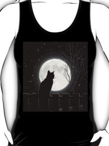Moon Bath II, cat full moon winter night T-Shirt
