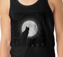 Moon Bath II, cat full moon winter night Tank Top