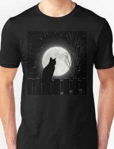 Moon Bath II, cat full moon winter night Unisex T-Shirt