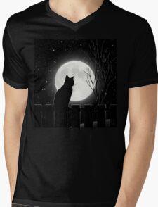 Moon Bath II, cat full moon winter night Mens V-Neck T-Shirt