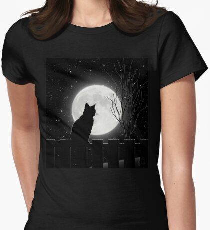 Moon Bath II, cat full moon winter night Womens Fitted T-Shirt