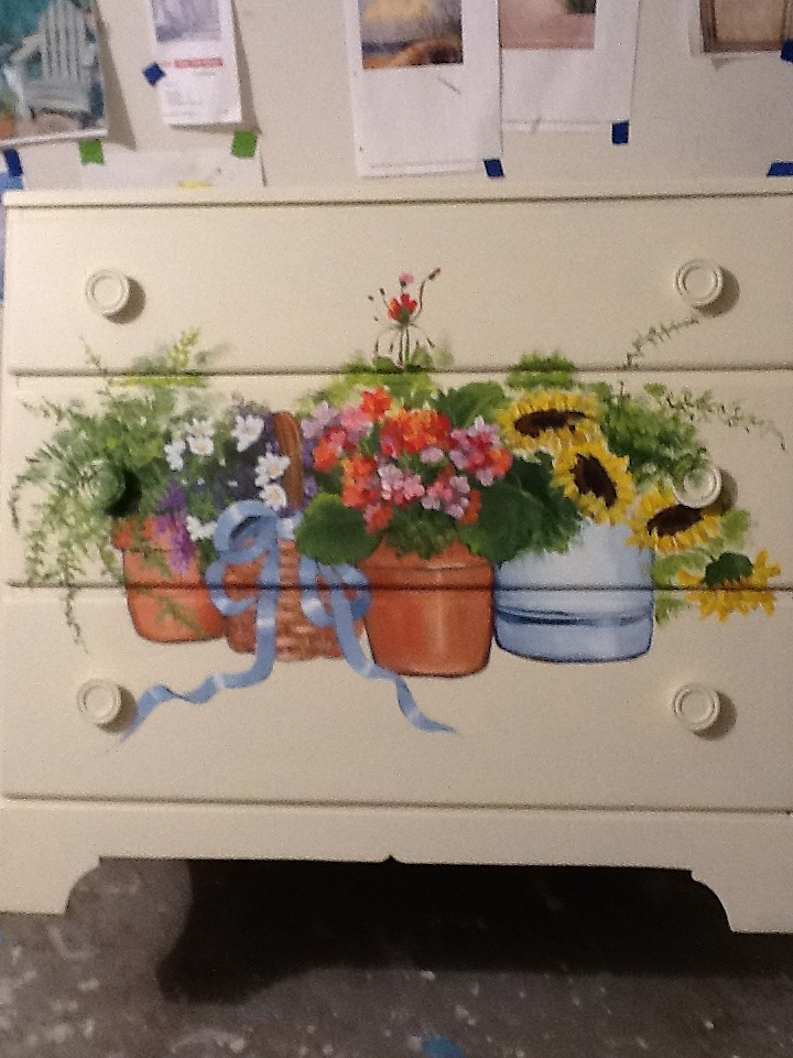 Floral front on Dresser by Cathy Amendola