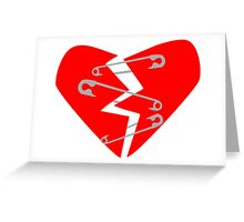 Safety Pin Heart Greeting Card