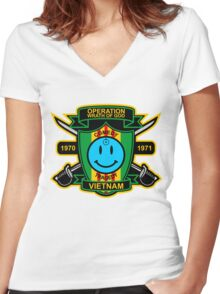 Watchmen - Nam Patch Women's Fitted V-Neck T-Shirt