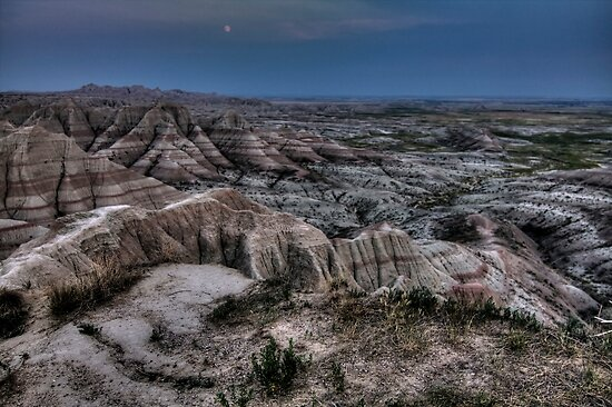 The Badlands Under a Full Moon by Terence Russell