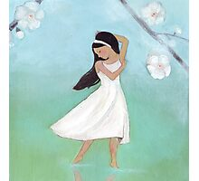 Dancing girl with blossoms and reflections Photographic Print