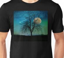 Solitude, Harvest Moon shooting star blue-green sky Unisex T-Shirt
