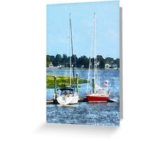 Two Docked Sailboats Norwalk, CT Greeting Card