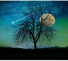 Solitude, Harvest Moon shooting star blue-green sky Photographic Print