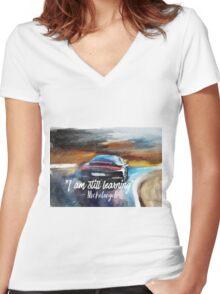 Michelangelo quote Sportcar oil paints nature Women's Fitted V-Neck T-Shirt