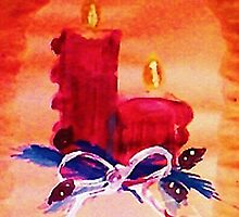 #1 Christmas card ,red candles,  watercolor by Anna  Lewis, blind artist