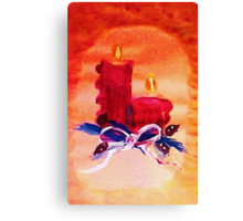 #1 Christmas card ,red candles,  watercolor Canvas Print